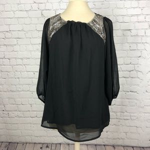 Black sequined blouse, size small